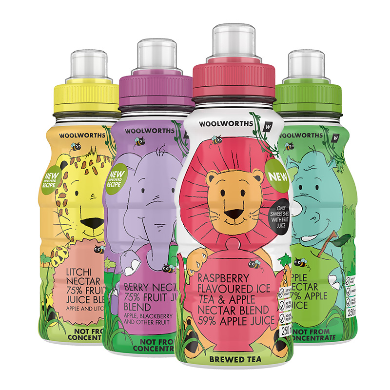 Woolworths Kids Juice 250ml Bottles 3D Product Photography